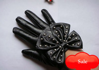 Wholesale Lady gaga rivet Studs big bow women s fashion leather hand gloves Black