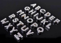 Wholesale 8mm silver bling crystal rhinestone slider letter charm number A TO Z to you can choose