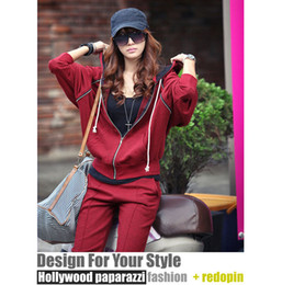 Wholesale Autumn burgundy Leisure hooded Sports and Leisure sweater Sport sweater Cardigan coat Twinset dress