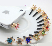 Wholesale 500PCS crown Diamond cap earphone jack bling phone accessories Anti dust dustproof ear plug c113