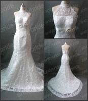 Actual Images High Neck Lace 2013 Fashion New Model Sheath Lace Wedding Dresses Gowns Real Actual Image Bridal Wedding Dress