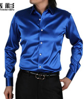 silk dress shirt - New Arrive Hot Sale Men s High Quality Shiny Silk Shirt color Can Choose S XXXL0