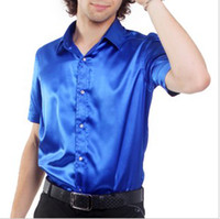 Men Silk Short Sleeve Wholesale 2012 Hot Sale Men High-grade 9 Color Shiny Silk Satin Short-sleeved Shirt S-XL