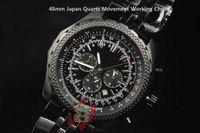 b quartz watch - Luxury Mens Black Dial Dlc Pvd Japan Chronograph Sport Wrist Men s Watches FLYING B Motors Watch
