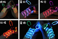 Wholesale 200pcs pairs LEEAO Night Lighting Led Shoe Lace Shoelace Led Flashing Lace W Button Battery