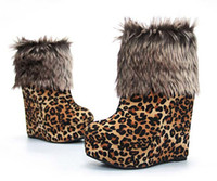 as photo ankle cuff heels - New hot sale leopard Sexy Warm Cuffed Ankle Boots Platform Wedge Heel for women Shoes Size