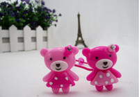 Wholesale Children s hair ornament Baby hair band Cute teddy pink bear resin hair ring Christmas gift
