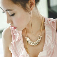 Wholesale Golden Pearl Necklace Princess chain necklace fashion Jewelry factory price