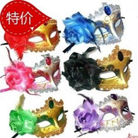 Wholesale Electroplating Adornment Flower Mask Carnival Halloween Masquerade Dance Party Masks Black