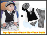 Wholesale Boys pc suits Hat Pants tie vest T shirt baby girls Christmas clothing suit Children s Outfits set
