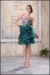 Wholesale Dark Green Unique Homecoming Dresses Organza Strapless Zipper Small Wafer Sequin Cocktail Dresses