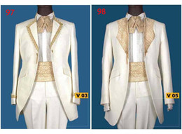 Wholesale Men Suit Mens Complete Designer Tuxedo Bridegroom Suit Wedding Groom Wear Handmade Court Suit C2B