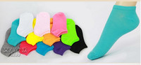 Wholesale Candy Colors Cotton Womens Fashion Low Cut Ankle Crew Slipper Socks