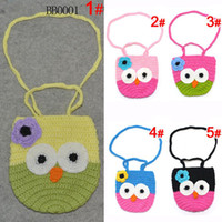 Wholesale baby Kids Handmade Crochet Cute Owl Bag Crochet Children Owl Bag Baby Knit Purse Aminal oranegcompa
