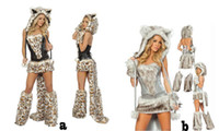 Wholesale Sexy Furry Leopard Print Furry Halloween Costume Halloween Cat Wolf Leopard Nightclub Clothing COS catwomen party christmas dress wear gift