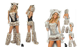 Sexy Furry Leopard Print Furry Halloween Costume Halloween Cat Wolf Leopard Nightclub Clothing COS catwomen party christmas dress wear gift