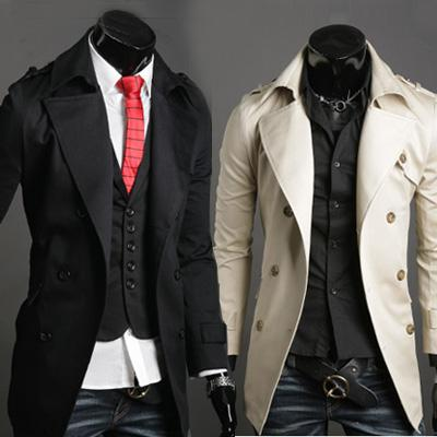 2017 Stylish Mens Trench Coats Double Breasted Mens Coats Without ...
