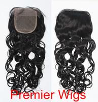 "Cheap Silk Base Lace Closure 3.5x4"" Brazilian Virgin Hair Loose Curl 14""-20"" Natural Color"