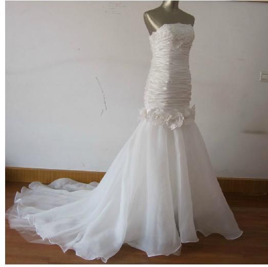 Diamond Fishtail Wedding Dresses : Wedding dress waist fishtail evening sequins beads