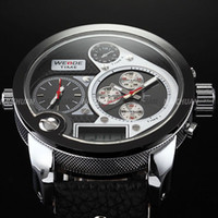 Wholesale Men Big Size Watches WEIDE Steel Case Leather Band Quartz Oversized XXL Casual Wrist Watch WE129