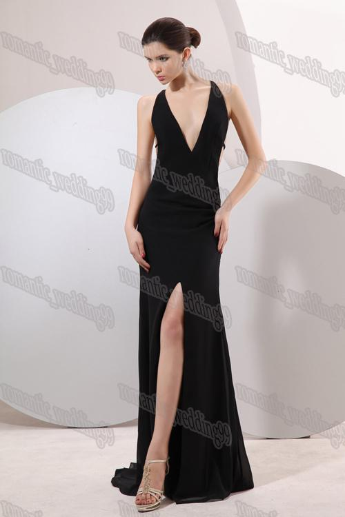 Deep v Neck Evening Dress Deep-v-neck-black-evening