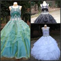 Wholesale Real Sample Beaded Straps A line Floor Length White Flower Girl Dresses Pageant Dresses Custom Made