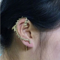 Party Chirstmas Bronze/Anti-silver Punk Oriental Dragon Stud Fake Clip On Earrings Ear Cuff Women Jewelry Hot Sale J337
