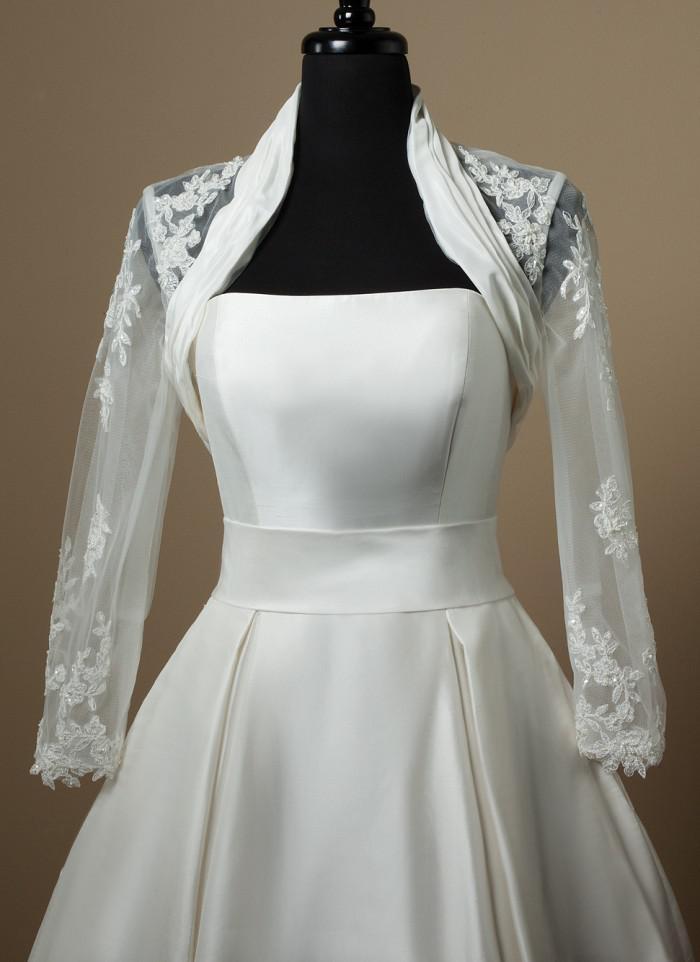 2017 Bridal Bolero Jackets Wedding Dresses With Long Sleeves 2015 Vintage Wraps Bridal