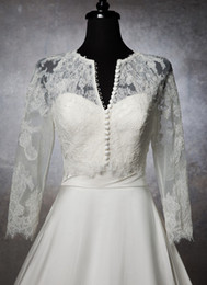 Wholesale Bridal Jacket with Long Sleeves Sheer Jewel Cover Buttons Bridal Jackets with Lace Appliques Detachable Wraps Bridal Bolero for Wedding