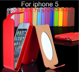 Wholesale rare Women Makeup Buckle mirror clamshell leather cover case for iPhone g colorfull via FEDEX