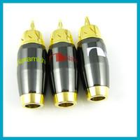 100pcs DIY Banana audio connectors RCA Plug Male Pin audio s...