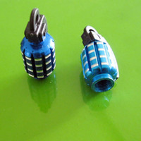 Wholesale Metal Grenade Design Car Motorcycle Bike Tire Tyre Valve Dust Caps Blue