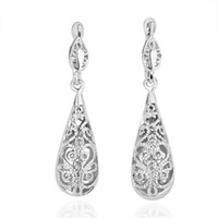 Wholesale High Quality Fashion Jewelry K White Gold Plated Hollow carved Wedding Earring For Women EH112
