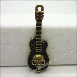 Wholesale Fashion Guitar Pendants Antique bronze zinc alloy Metal Necklace DIY Jewelry Craft