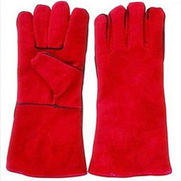 Wholesale Suitable for welder use Full leather tig welding glove hand protective gloves double gloves for wel