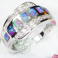 Wholesale Trendy white stone with Amethyst opal silver ring R601 sz