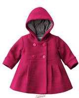 Wholesale 5pcs stock Christmas girl s winter pink and red coat baby girl s outwear Hooded flared fashion_house