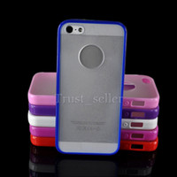 Wholesale For iphone5 Brand new design Frosted Plastic Back Cover With Bumper Case in1 With Round Logo