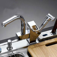 Wholesale pull out kitchen faucet with spray solid brass sink tap two handle and two spouts chrome finish