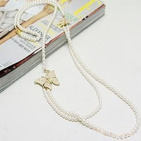 Wholesale Double Pearl Necklace bow Pendant chain necklace fashion Jewelry factory price