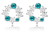 Wholesale Austria Crystal Circle Flower Earrings Stud Earrings