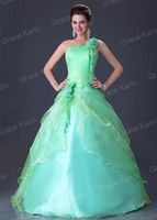 green wedding gown - Stock High Quality Green Rose One Shoulder Ball Gown Bridesmaid Wedding Dress CL2678