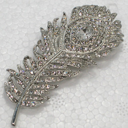 Wholesale Crystal Rhinestone Peacock Feather Pin Brooch Wedding Party Prom Brooches Jewelry gift C384