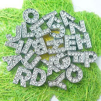 Wholesale mm A Z Full rhinestone slide letter fit for mm wristband pet dog cat collar NO