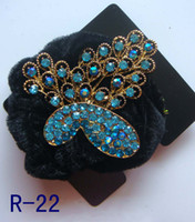 Wholesale hot sell vintage hair jewelry flower Rhinestone Elastic Hair Ties Band hair Accessories mixed color R