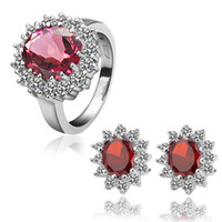 Wholesale High Quality Fashion K White Gold Plated Red CZ Crystal Earring Rings Wedding Jewelry Sets TZ049