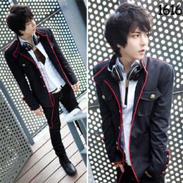 Wholesale New hot sale Korean casual red edge pamphlets Collar Slim single breasted black coat jacket men
