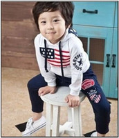 unisex  2-6years 90 100 110 120 130 New hot boys girls flag tracksuits kids hoodie + pants clothing set children casual sports suit
