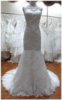 Wholesale Actual Images Mermaid high neck Short Sleeves Organza Lace applique Wedding Dresses buttons zipper