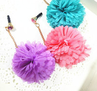 Wholesale flower ball dangle dustproof ear cap Anti Dust Plug For iPhone ipad HTC Mobile Phone mm c121